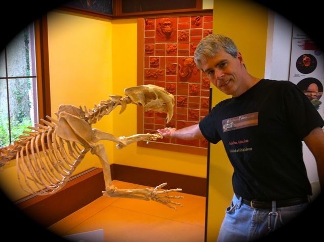 Joe Disch with skeleton